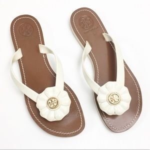 Tory Burch White Gold Flower Jelly Thong Sandals